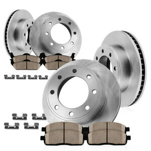 For 2000 2001 2002 Dodge Ram 2500 3500 Front Rear Rotors Ceramic Pads