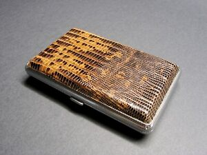 Genuine Lizard Leather Card Holder Rfid nfc Blocking Metal Box Credit Card Case