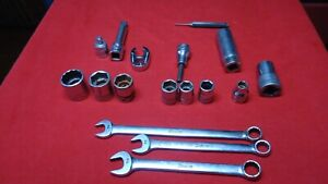 Snap On Tool Lot Of 16 Mixed Sockets Wrenches Crowfoot Extension Adapter