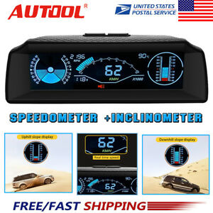 Car Digital Obd2 Inclinometer Angle Speedometer Head Up Display Gauge Mph Km
