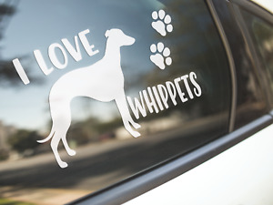 Whippet Sticker Dog Car Decal I Love Whippets Dogs Silhouette Paw Prints