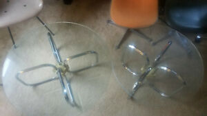 2 Chrome Coffee Table Milo Baughman Style Glass Accent Mid Century Modern