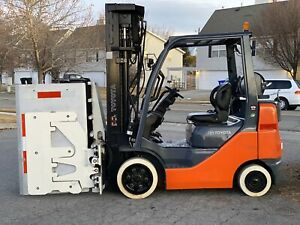 Toyota 8fgcu25 5 000lbs Traction Tire Forklift Quad Mast Sideshift Low Box Clamp