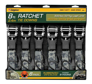 6pc 8 Camo Ratchet Tie Down Strap Cargo Tow Ratcheting Camouflage Heavy Duty