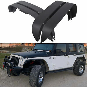 4pcs Textured Steel Flat Fender Flares Fit For 2007 2018 Jeep Wrangler Jk