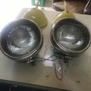 Pair Vintage 1930 31 Ford Model A 9 Headlights Buckets Rat Rads Chrome Ring