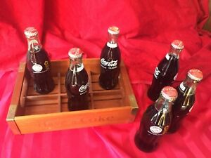 Vintage Wood Coca-Cola tray - Serving Tray Antique Wooden 6 Bottles