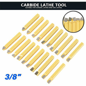 20 Pcs 3 8 C2 C6 Carbide tipped Cutter Tools Bits Set For Metal Lathe Tooling