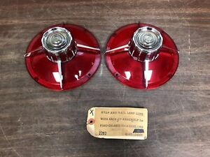 1963 Ford Galaxie 500 Xl Tail Light Back Up Lamp Lenses Pair Nors Glo Brite 120