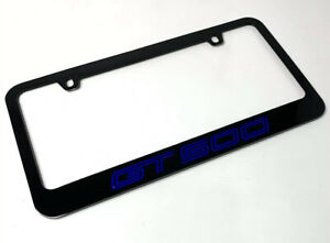 Black License Plate Frame For Mustang Shelby Gt500 premium Engraved Blue Fill