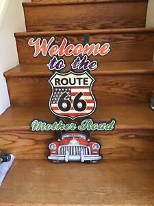Welcome To The Route 66 Mother Road Wood Travel Car Truck Parts Garage Man Cave
