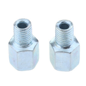 2pcs Silver Motorcycle ATV Mirror Adapters Reverse 10mm Mount to Postive 10mm