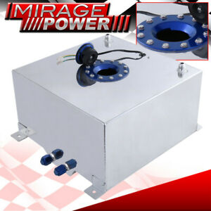 40 Liter 10 Gallon Chrome Aluminum Fuel Cell Tank W Blue Cap Gauge Sender