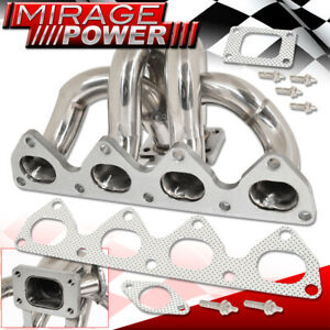 For 92 01 Honda Prelude Bb Jdm H22 Stainless Turbo Manifold Header Exhaust T3