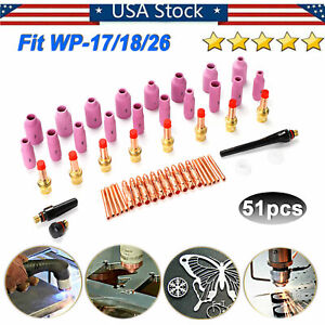 51pcs Tig Welding Torch Gas Lens Collet Body Consumables Kit Fit Wp 17 18 26 Usa