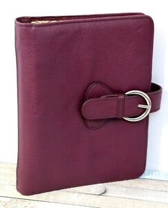 7 x9 5 Franklin Covey Purple Leather Planner Organizer Paper Case Binder 7 Rng