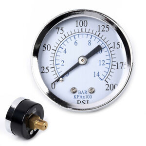2 Inches 0 200psi Metal Air Oil Water Pressure Gauge 1 4 Npt Thread Back Mount