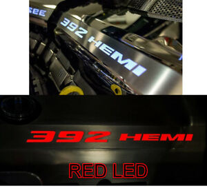 Polished Fuel Rail Covers W Red Led Inlay For 2015 2020 Srt 6 4l 392 Engines