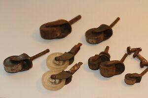 8 Antique Vintage Industrial Metal Wood Dresser Furniture Caster Wheels Lot