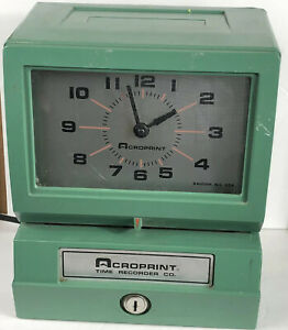 Acroprint Time Recorder Co Time Clock Traditional Punch Clock 150nr4 no Key