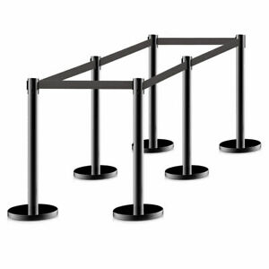 Hot Lot 6 Stanchion Posts Queue Pole Retractable Ropes Crowd Control Barrier New