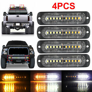 4x 10 Led Amber White Car Emergency Beacon Warning Hazard Flash Strobe Light Bar