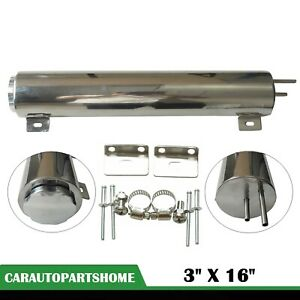 50 Oz Polished Stainless Steel 3 X 16 Radiator Over Flow Puke Tank Catch Can