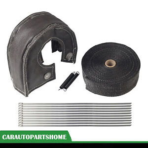 2 50ft Exhaust Header Wrap Tape W T3 Turbo Heat Shield Blanket Cover Black