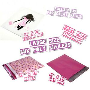100 Large Mix Size Poly Mailer Bundle 50 Ea Size