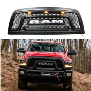 Abs Black Front Grille Fit For 2010 2018 Ram 2500 3500 Grill 3 Amber Led Light