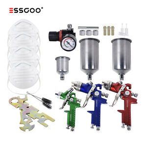 Essgoo Automotive Hvlp Spray Gun Sprayer Gavity Feed Set Car Primer Basecoat