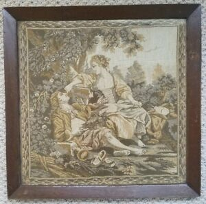 Large Antique French Tapestry Courting Couple Wooden Frame Victorian Era