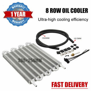 8 Row Transmission Oil Cooler Kit Aluminum Car Radiator With Fittings