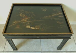 Antique Vtg Chinese Chinoiserie Black Gold Scene Wood Side End Accent Table