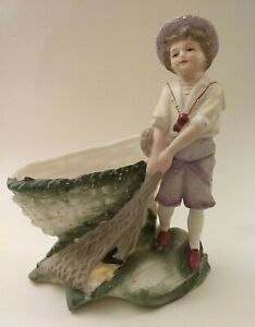 Antique Fine Bisque Porcelain Figurine Hand Painted Boy With Net Germany
