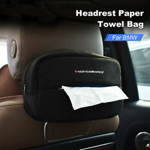 Suede Car Tissue Storage Box Holder Seat Back Paper Cover Case For Bmw E90 F10