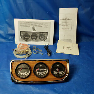 Nos 60s Vintage Rac Triple Gauge Set Hot Rod Muscle Car Truck Accessory Gauges