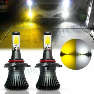 2x 9005 Switchback Amber White Dual Color High Beam Headlight Cob Led Bulbs