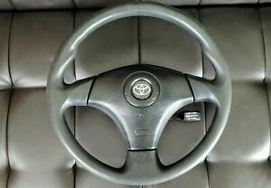 Toyota Rav4 Celica Corolla S Matrix Xr Black Leather Oem Steering Wheel Airbag