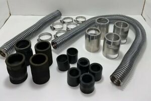 Universal S s Chrome Radiator Hose Kit w Aluminum Covers Rubber Nylon Adaptors