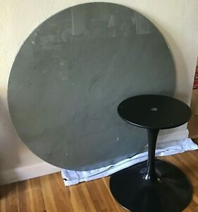 Authentic Tulip Dining Round Black Marble Table By Eero Saarinen For Knoll 54