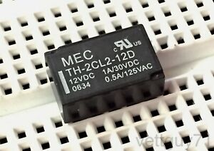 Mec Th 2cl2 12d Dpdt Latching Relay 12v Dip 1a 30vdc 0 5a 125vac Pcb