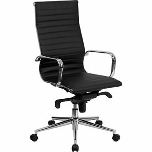 High Back Black Ribbed Leather Executive Swivel Chair With Knee tilt Control