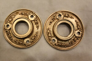 Lot Of 2 Antique Victorian Ornate 2 Round Cast Brass Door Wreath Rosettes