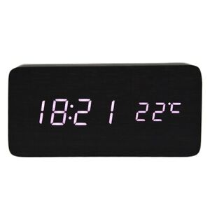 voice Control Calendar Thermometer rectangle Wood Wooden Led Digital Alarm J8w6