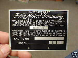 Vintage Ford Truck Weight Data Plate 1940s 1950s Acid Etched Aluminum