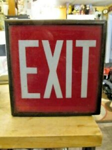 Vintage 1930 s Era Red Glass Exit Sign With Metal Case