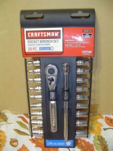 Brand New Craftsman 20 Pc 1 4 Drive 6 Pt Inch Metric Socket Wrench Set