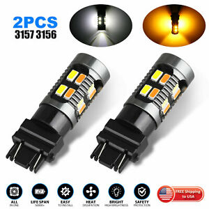 2x 3157 Switchback Led Turn Signal Light 4157na 3457a Led Bulbs 3156 White Amber
