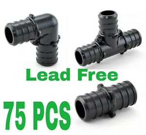 75 3 4 Pex Poly Alloy Crimp Tees Elbows Coupling Fittings Lead free